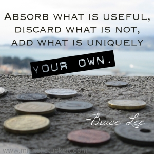 Absorb what is useful, discard what is not, add what is uniquely your own. -Bruce Lee